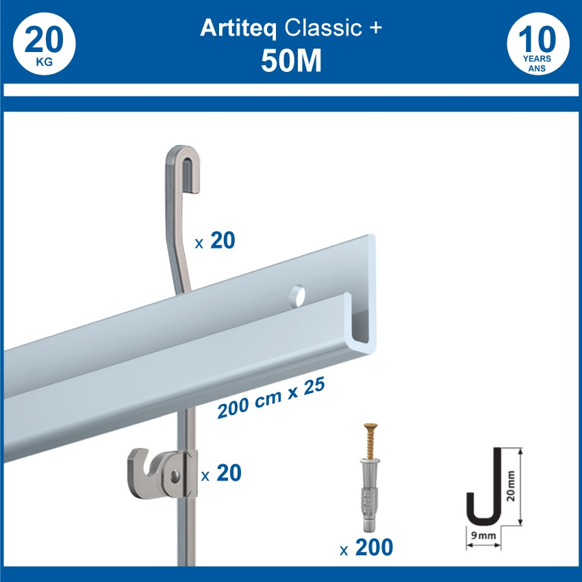 Pack 50 mètres cimaises Classic + Gallery couleur Aluminium - Solution d'accrochage pour décoration murale lourde