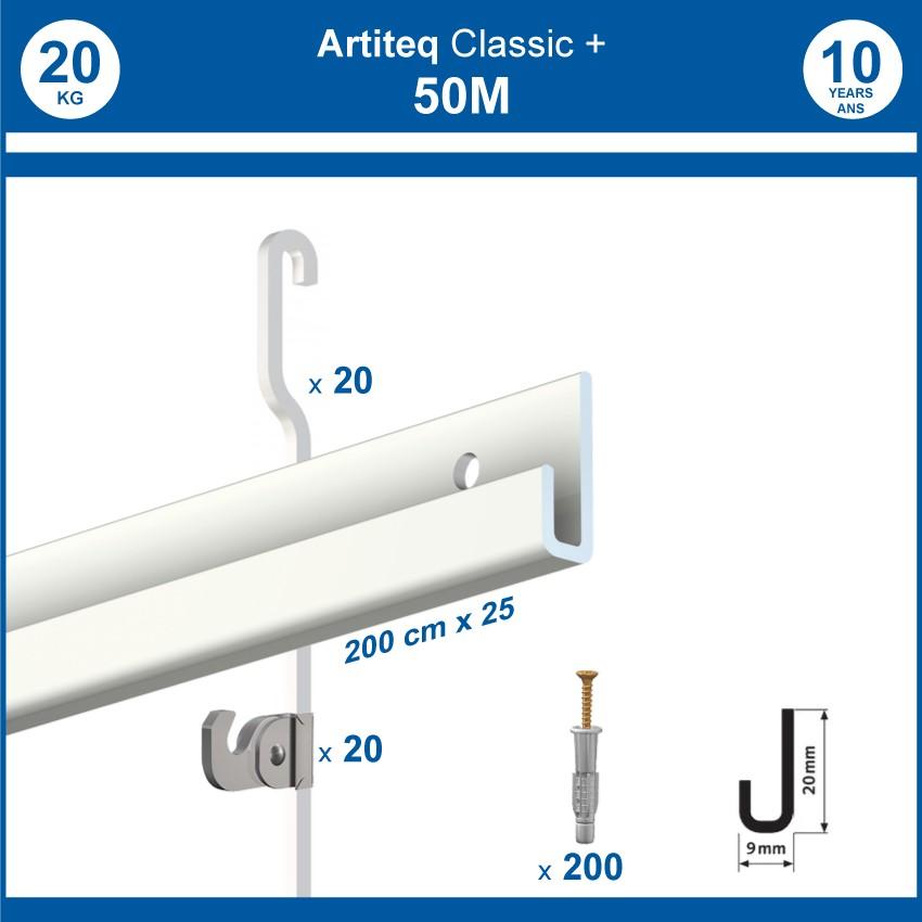 Pack 50 mètres cimaises Classic + Gallery couleur Blanc - Solution d'accrochage pour décoration murale lourde