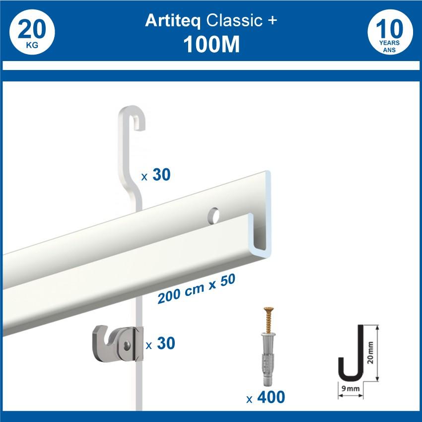 Pack 100 mètres cimaises Classic + Gallery couleur Blanc - Solution d'accrochage pour décoration murale lourde