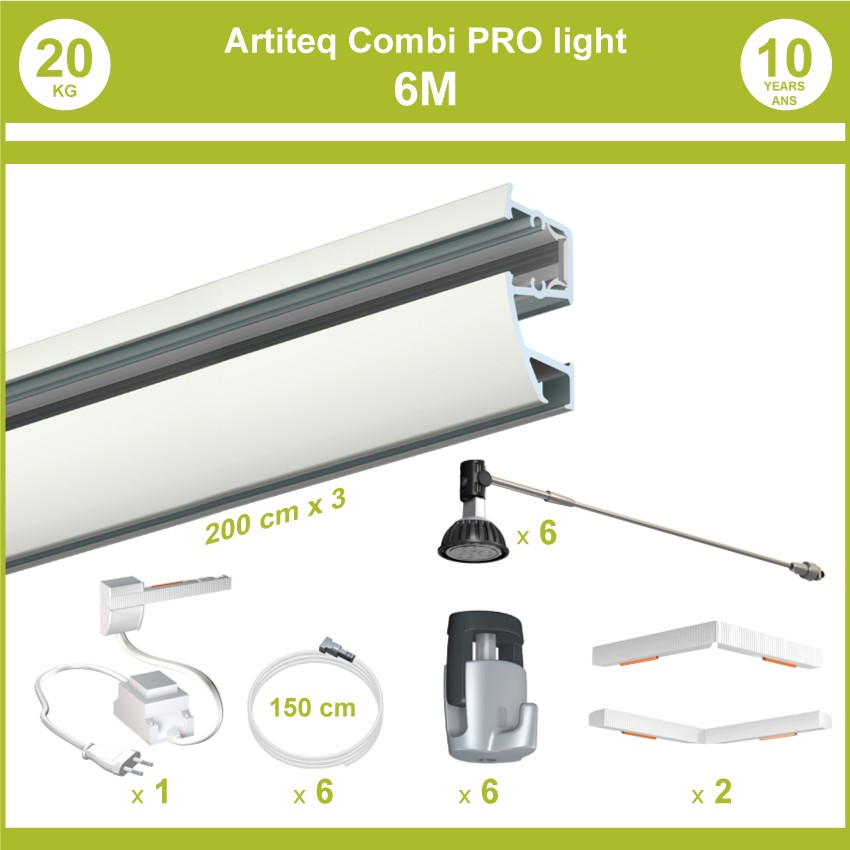 Pack complet 6 mètres cimaises murales Combi Pro Light + Armature 50 cm pour éclairage de tableaux