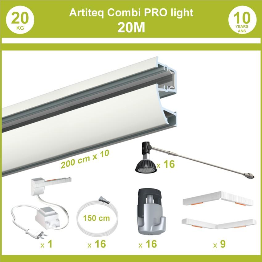 Pack complet 20 mètres cimaises murales Combi Pro Light + Armature 50 cm pour éclairage de tableaux