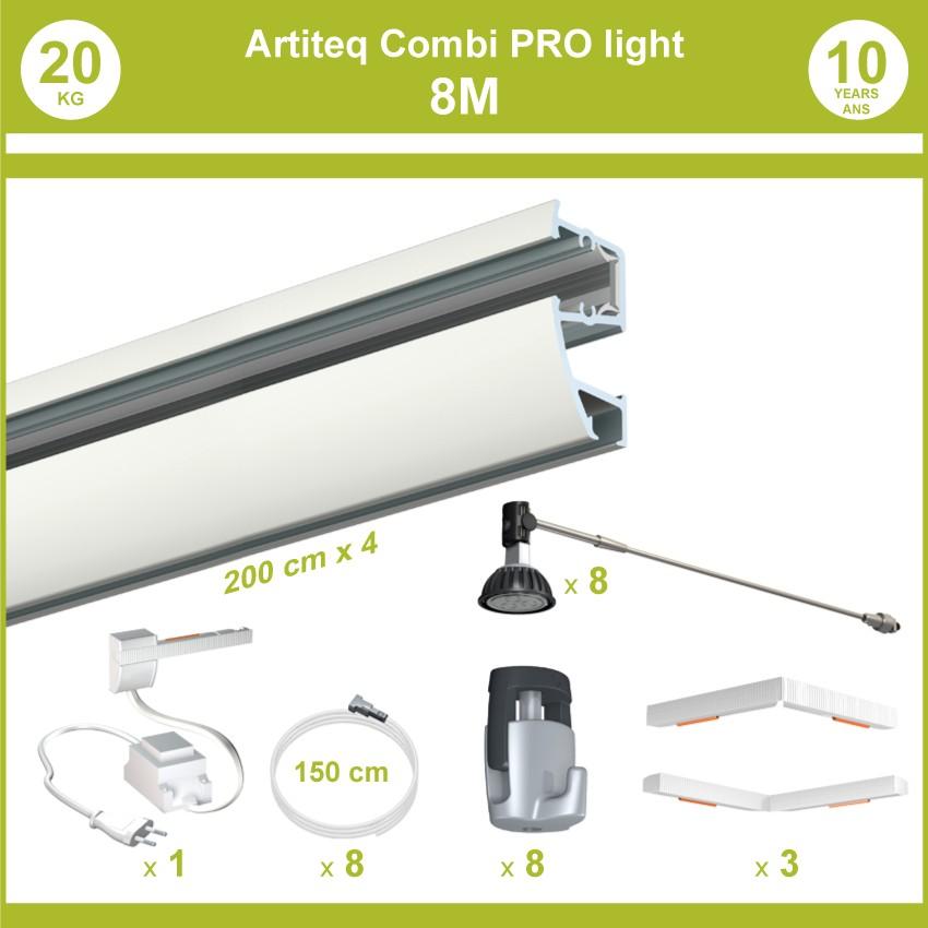 Pack complet 8 mètres cimaises murales Combi Pro Light + Armature 70 cm pour éclairage de tableaux
