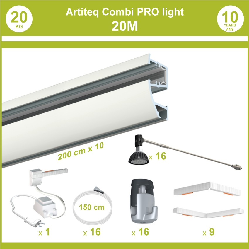 Pack complet 20 mètres cimaises murales Combi Pro Light + Armature 70 cm pour éclairage de tableaux
