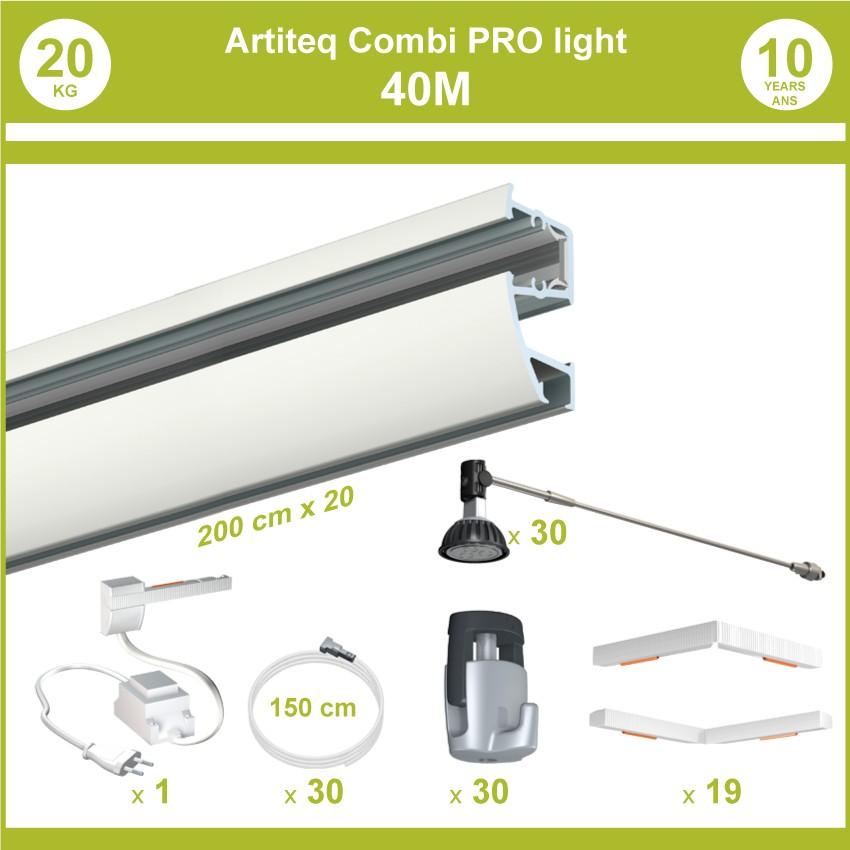 Pack complet 40 mètres cimaises murales Combi Pro Light + Armature 70 cm pour éclairage de tableaux