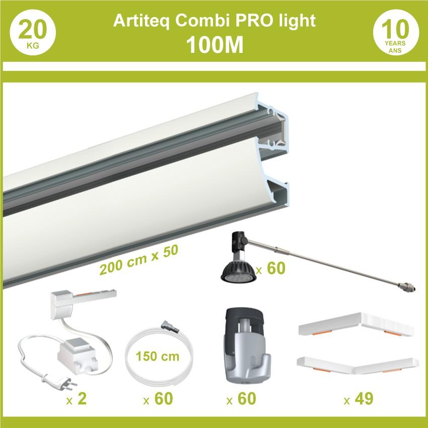Pack complet 100 mètres cimaises murales Combi Pro Light + Armature 70 cm pour éclairage de tableaux