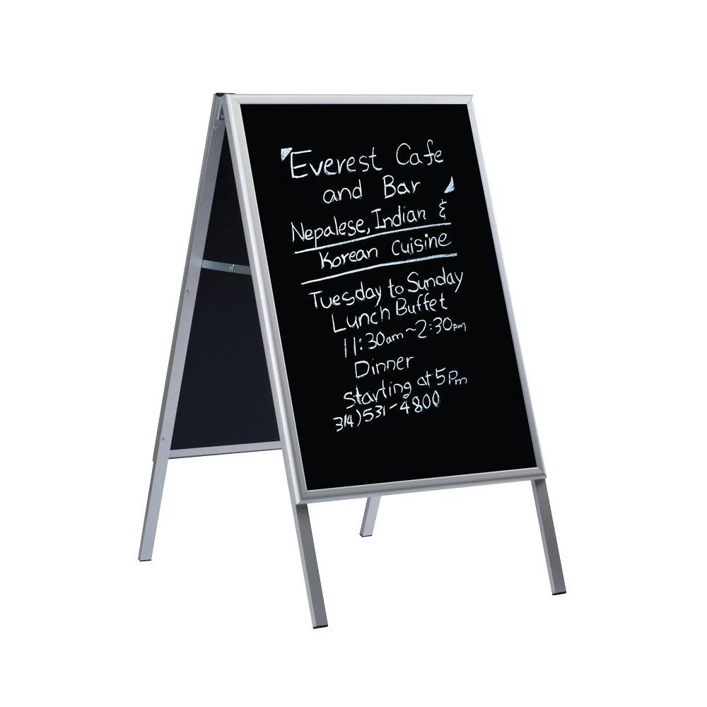 Chevalet ardoise noire double face avec profilé en aluminium (60 x 80 cm) - Stop trottoir ardoise porte menu