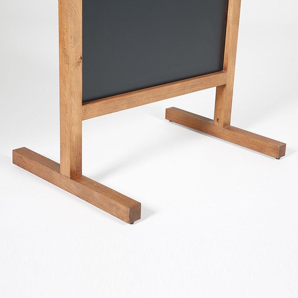 Ardoise sur pied en bois double face et magnétique pour hôtel restaurant - Modèle Wood Maki - Usage intérieur et extérieur (60 x