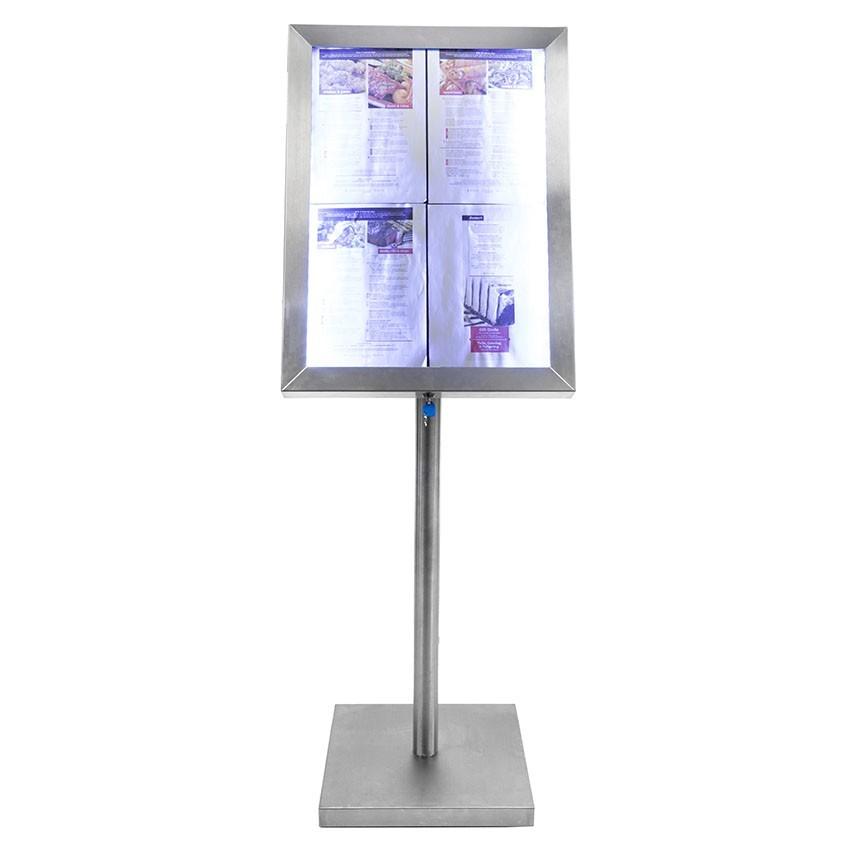 Porte menu 4 x A4 Classic LED en acier inoxydable avec pied - Affichage menu hôtel restaurant