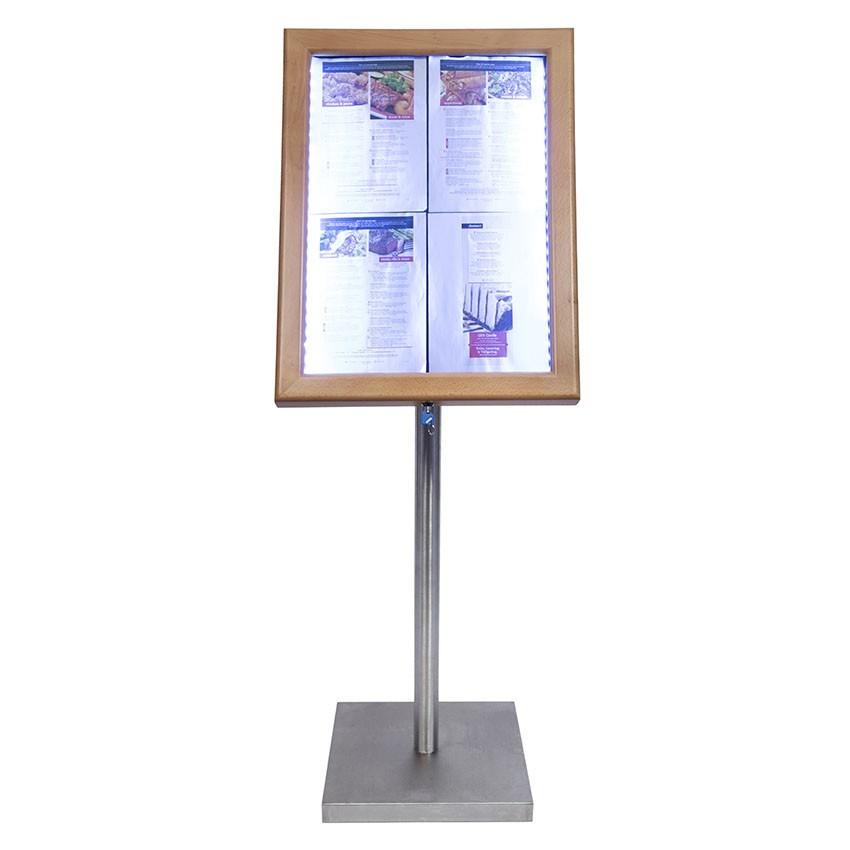 Porte menu 4 x A4 Classic LED en bois aspect Teck avec pied - Affichage menu hôtel restaurant