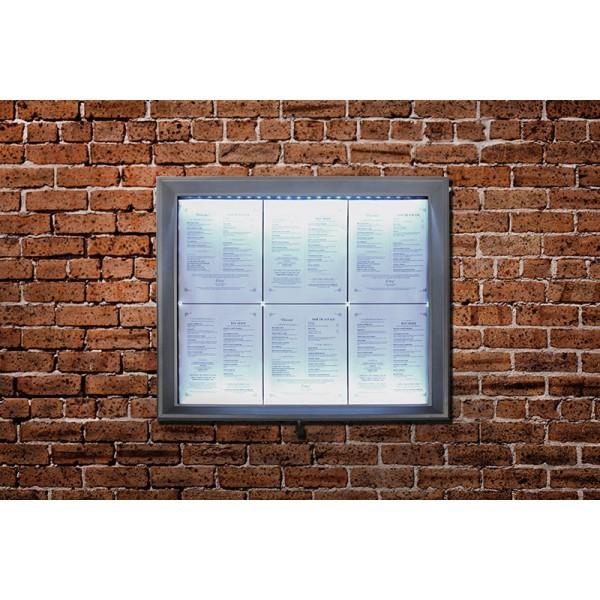 Porte menu mural LED gris métallisé format 6 x A4 - Affichage menu hôtel restaurant