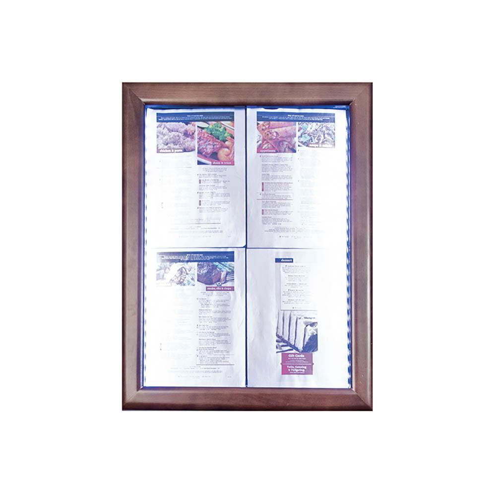 Porte menu mural 4 x A4 Classic LED en bois aspect Wengé - Affichage menu hôtel restaurant