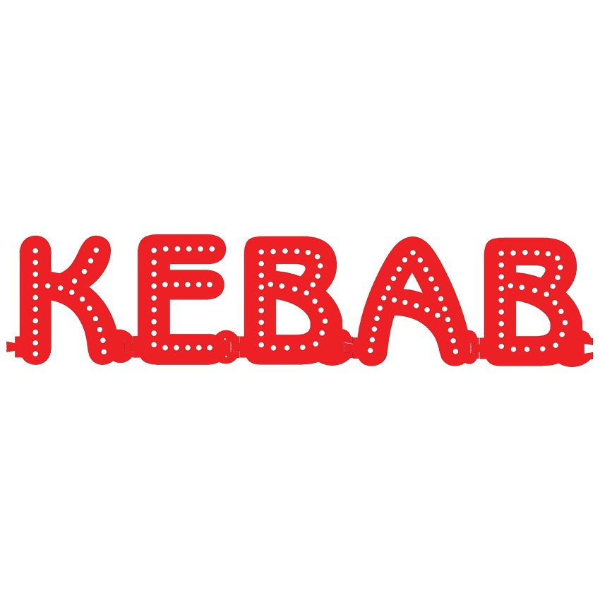 Enseigne lumineuse KEBAB avec option Flash - Lettres lumineuses LED pour vitrine restauration rapide