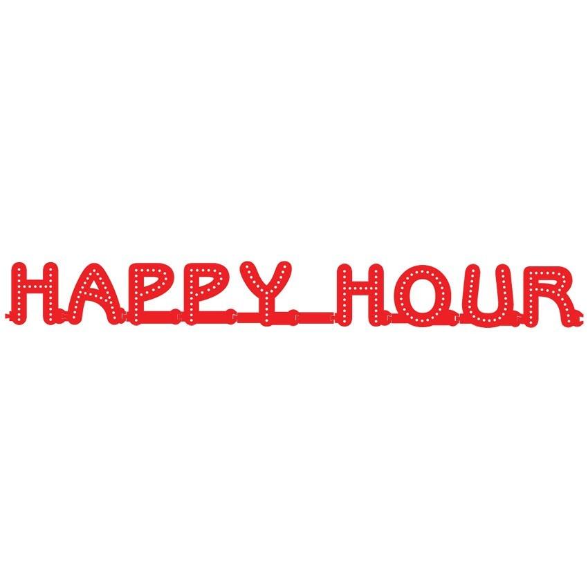 Enseigne HAPPY HOUR : lettres lumineuses Smart LED - Enseigne lumineuse ED pour vitrine bar, brasserie