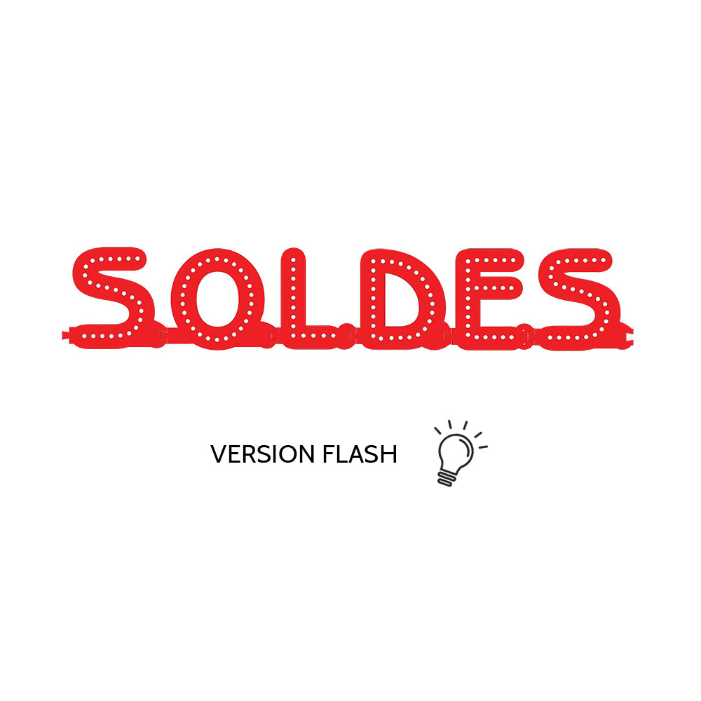 Enseigne lumineuse SOLDES avec option Flash - Lettres lumineuses LED pour vitrine magasin boutique