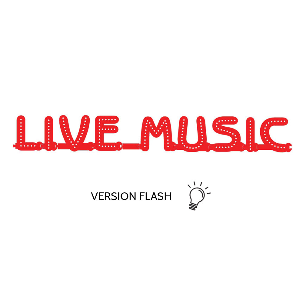 Enseigne lumineuse LIVE MUSIC avec option Flash - Lettres lumineuses LED pour vitrine salles privées, bar, salle concert