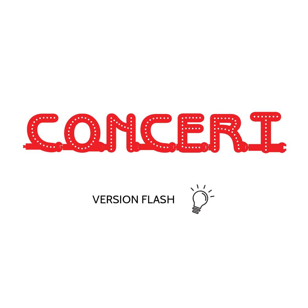 Enseigne lumineuse CONCERT avec option Flash - Lettres lumineuses LED pour vitrine salles privées, bar, salle concert