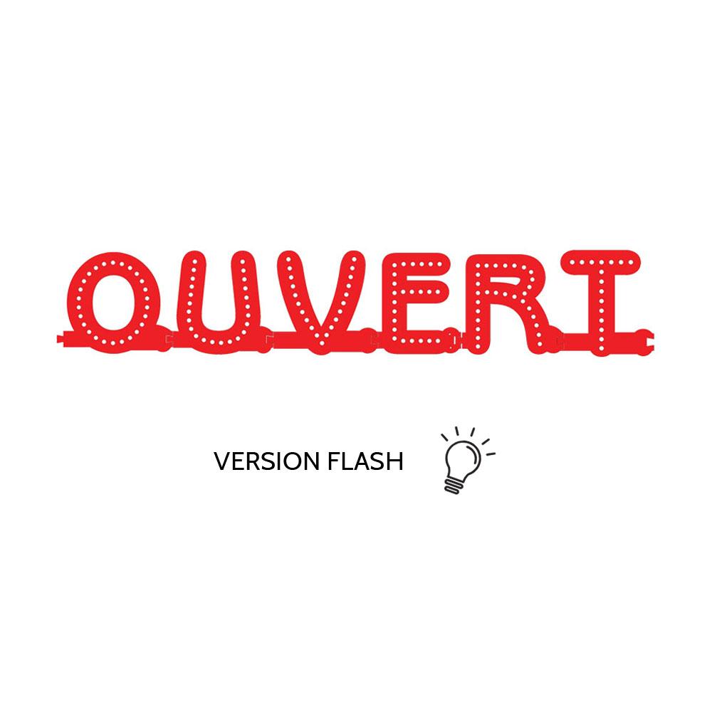Enseigne lumineuse OUVERT avec option Flash - Lettres lumineuses LED pour vitrine hôtel, restaurant, magasin
