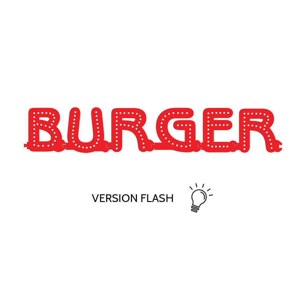 Enseigne lumineuse BURGER avec option Flash - Lettres lumineuses LED pour vitrine restaurant