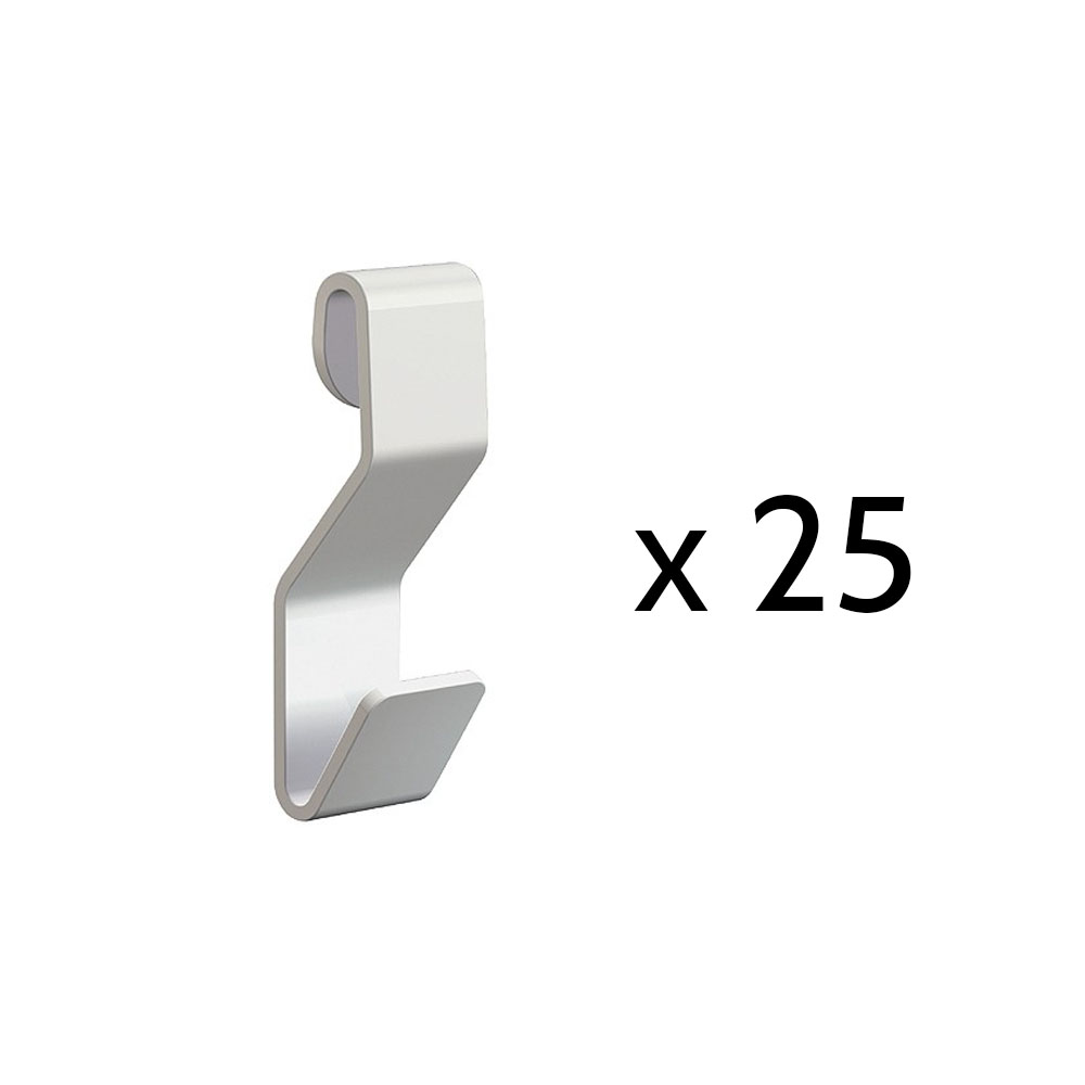 Boite 25 crochets en S blanc pour câbleà boucle