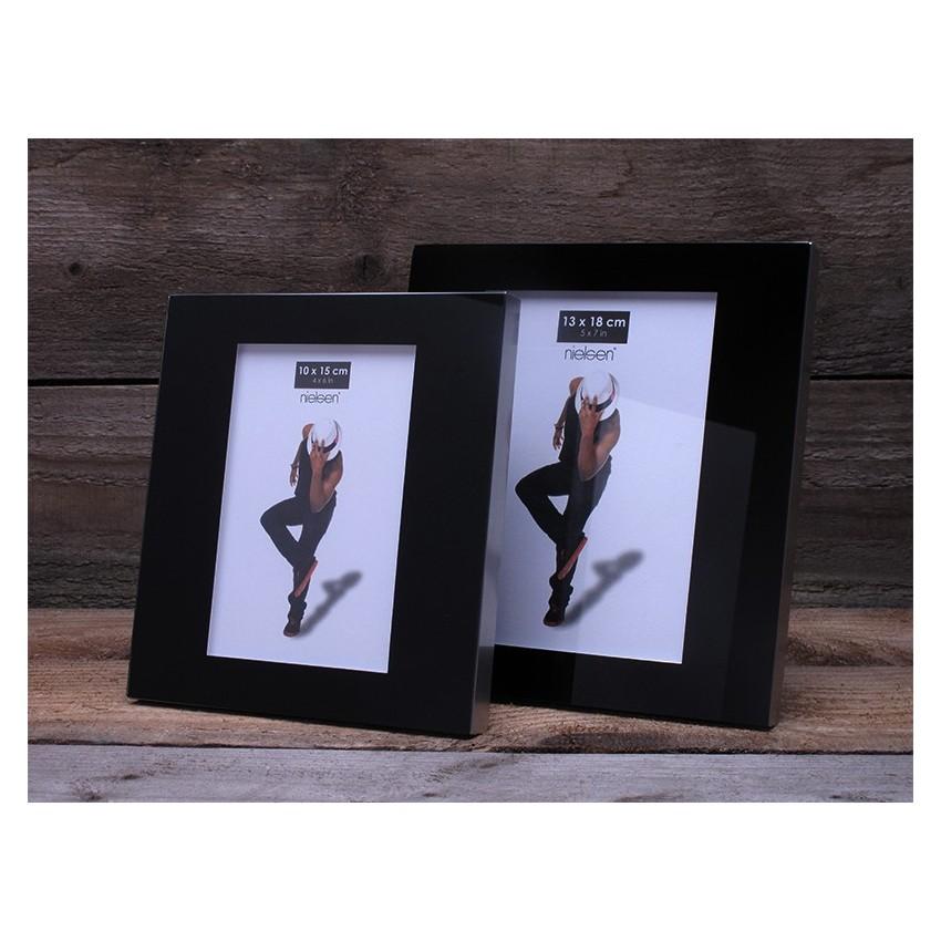 Lot de 2 cadres photo avec revêtement en verre format 10 x 15 cm couleur Noir - Cadre photo Nielsen