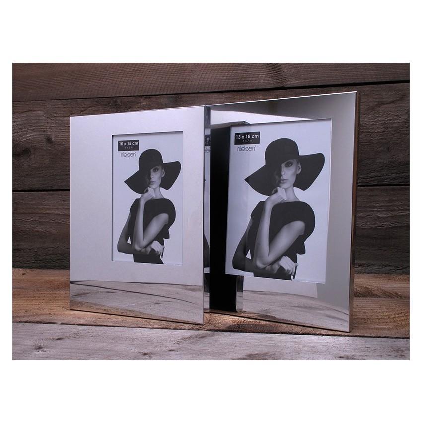 Lot de 2 cadres photo modèle asymétrique format 10 x 15 cm couleur Argent Brillant