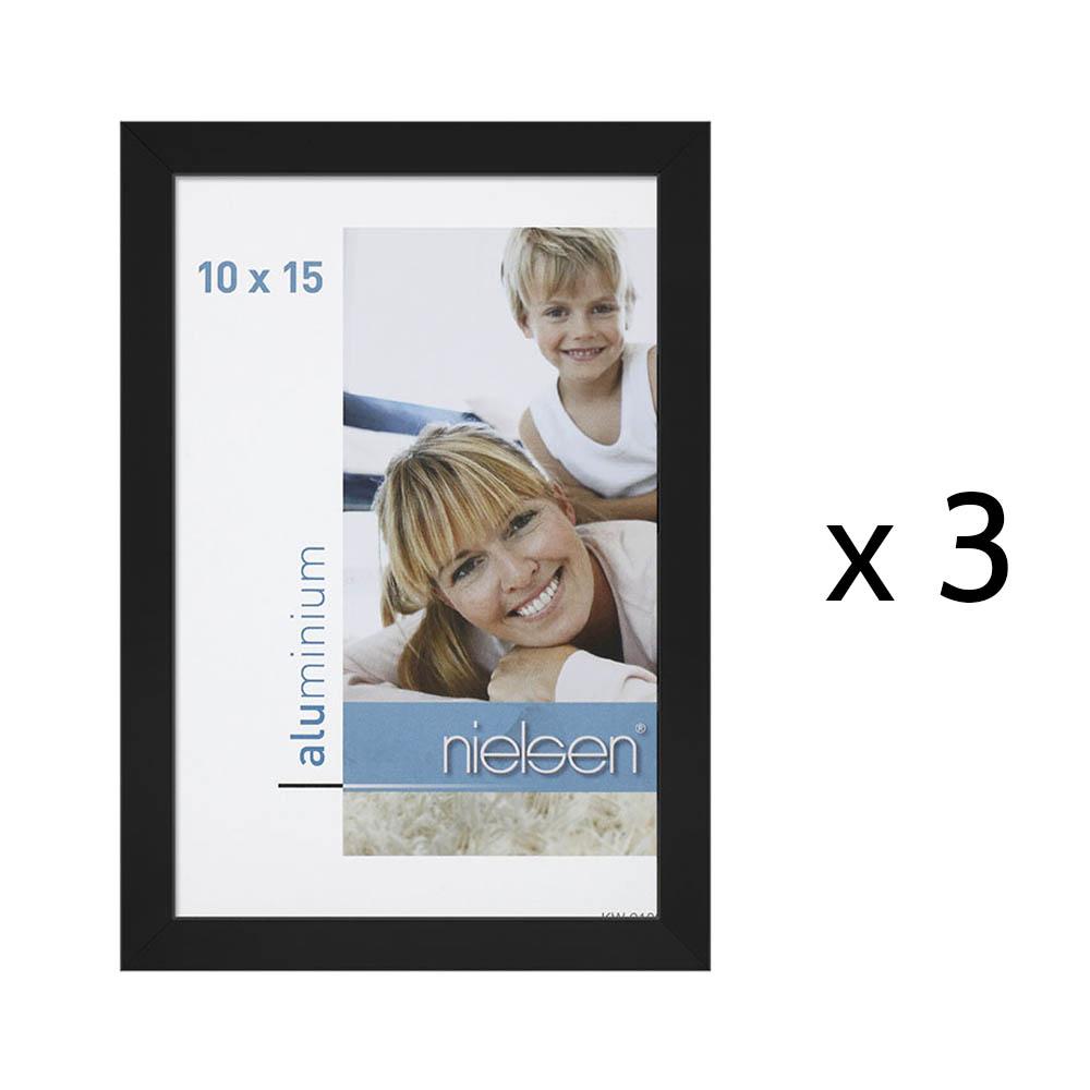 Lot de 3 cadres C2 Nielsen format 10 x 15 cm couleur Noir Anodisé - Cadre Nielsen en aluminium