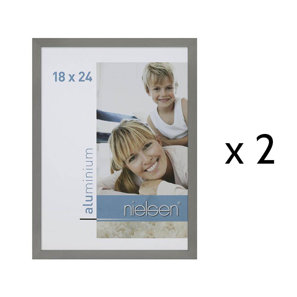 Lot de 2 cadres C2 Nielsen format 18 x 24 cm couleur Argent Mat Brossé - Cadre Nielsen en aluminium