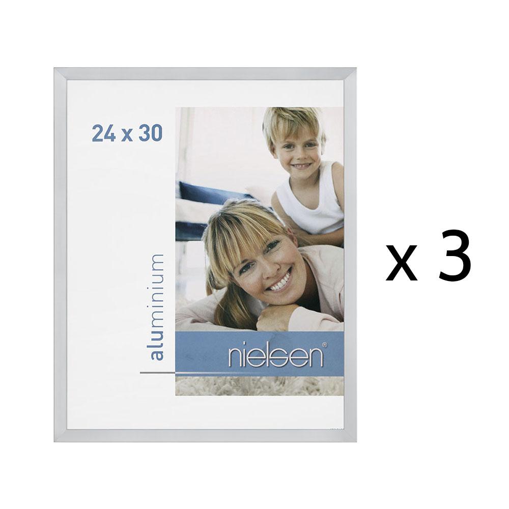 Lot de 3 cadres C2 Nielsen format 24 x 30 cm couleur Argent Poli - Cadre Nielsen en aluminium