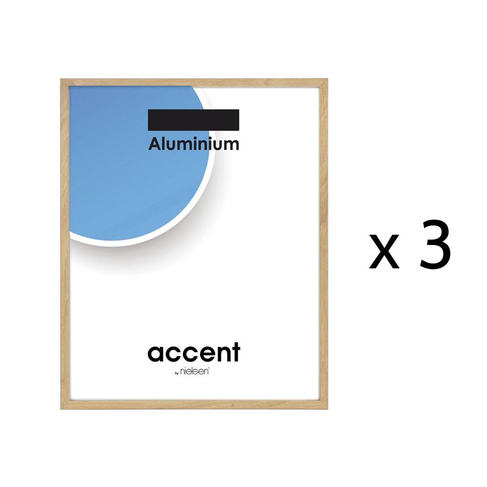 Lot de 3 cadres Nielsen DUO format A4 (21x29,7 cm) -  Cadre en aluminium placage bois couleur chêne