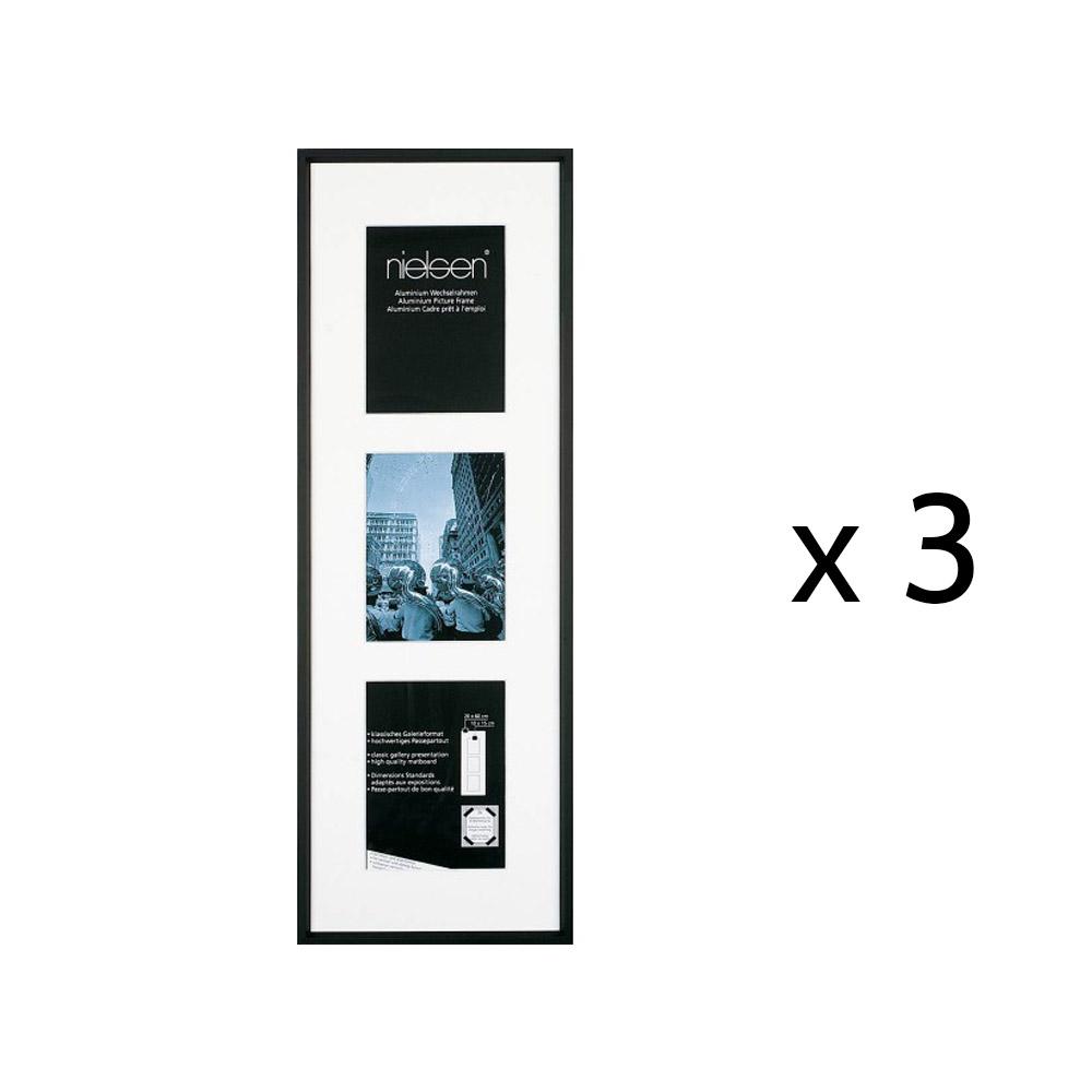Lot de 3 cadres multi-vues 30 x 74 cm Nielsen Gallery Junior (3 vues photo 13 x 18 cm)