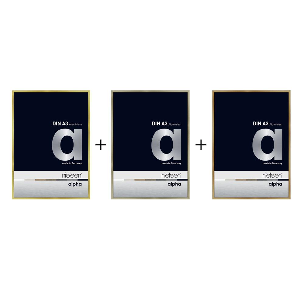 Lot de 3 cadres Nielsen Alpha format A3 - Trio couleur : or, cuivre, inox