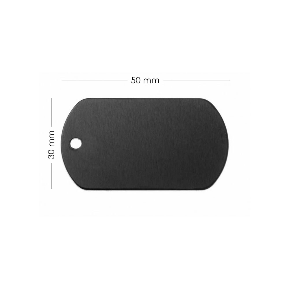 Médaille plaque militaire Noire pour chien chat personnalisée sur 1 à 3 lignes (50 mm x 30 mm)