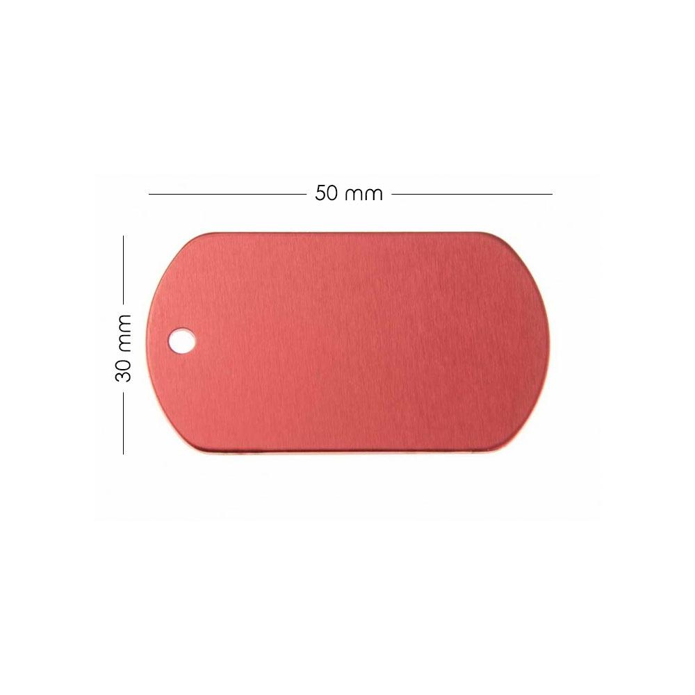 Médaille plaque militaire Rouge pour chien chat personnalisée sur 1 à 3 lignes (50 mm x 30 mm)