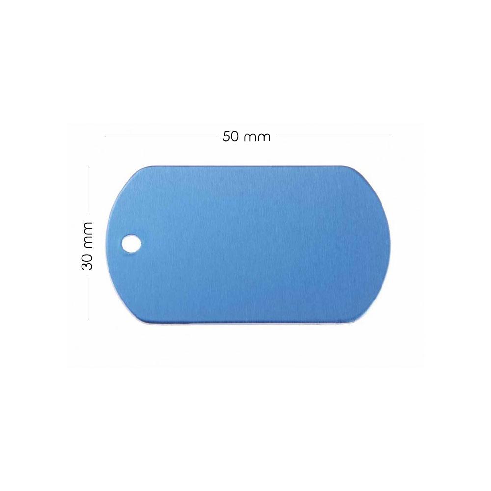 Médaille plaque militaire Bleue pour chien chat personnalisée sur 1 à 3 lignes (50 mm x 30 mm)