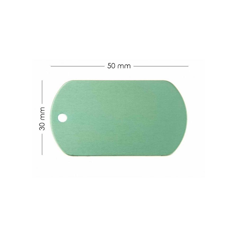 Médaille plaque militaire Verte pour chien chat à personnaliser sur 1 à 3 lignes (50 mm x 30 mm)
