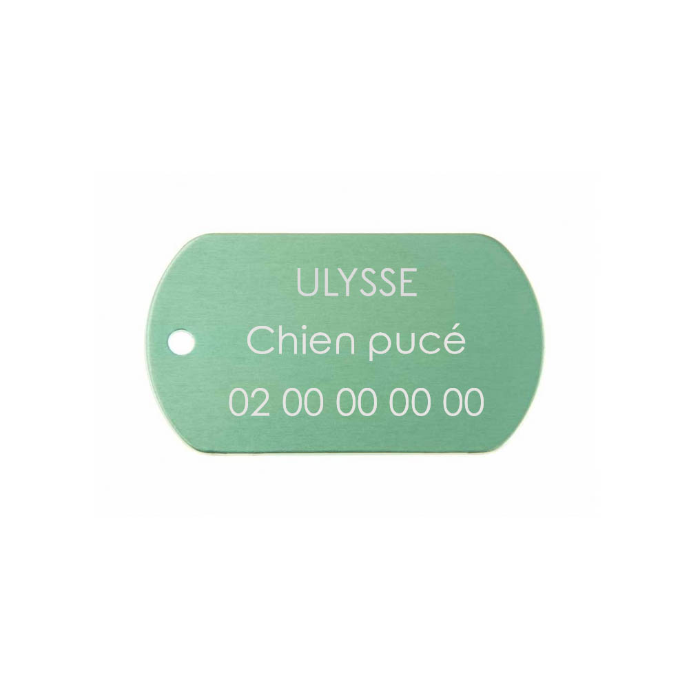 Médaille plaque militaire Verte pour chien chat personnalisée sur 1 à 3 lignes (50 mm x 30 mm)