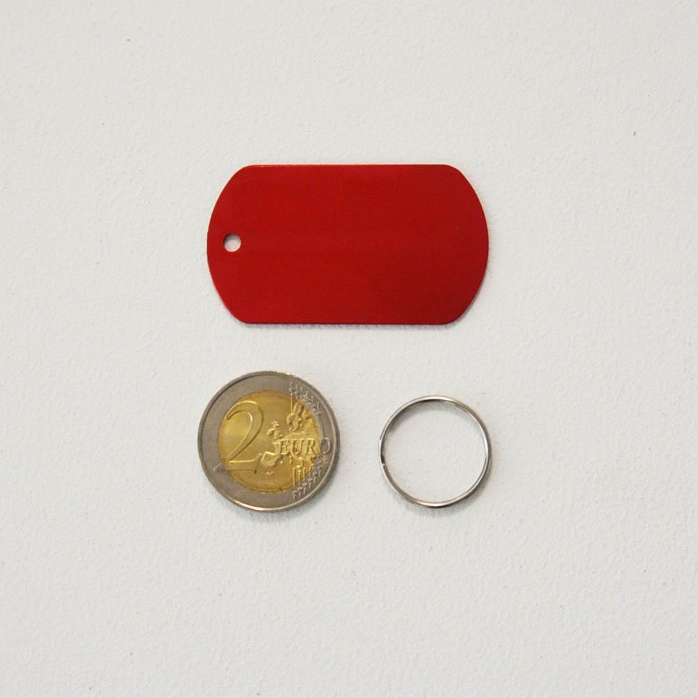 Médaille plaque militaire Rouge pour chien chat à personnaliser sur 1 à 3 lignes (50 mm x 30 mm)
