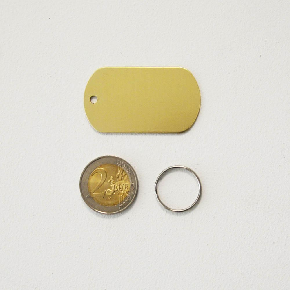 Médaille plaque militaire Or pour chien chat personnalisée sur 1 à 3 lignes (50 mm x 30 mm)