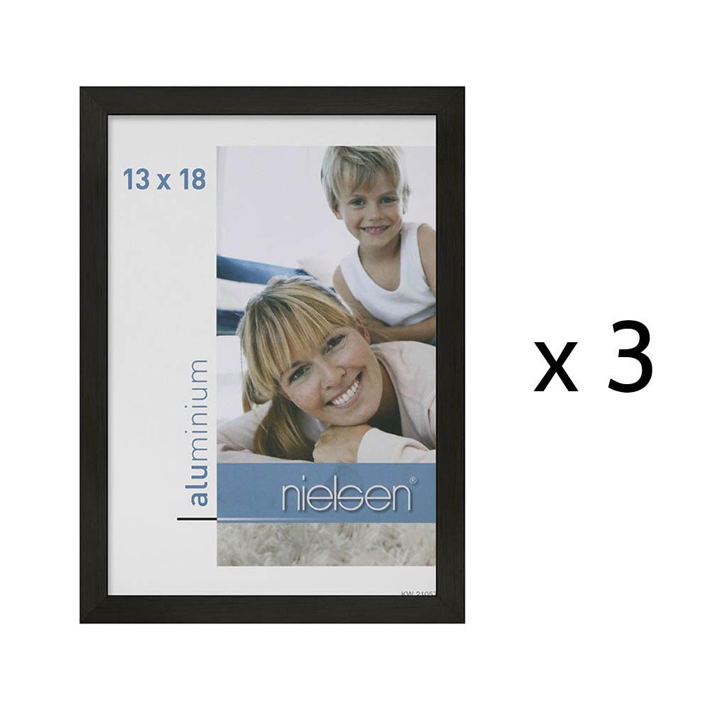 Lot de 3 cadres C2 Nielsen format 13 x 18 cm couleur Noir Mat Brossé - Cadre Nielsen en aluminium