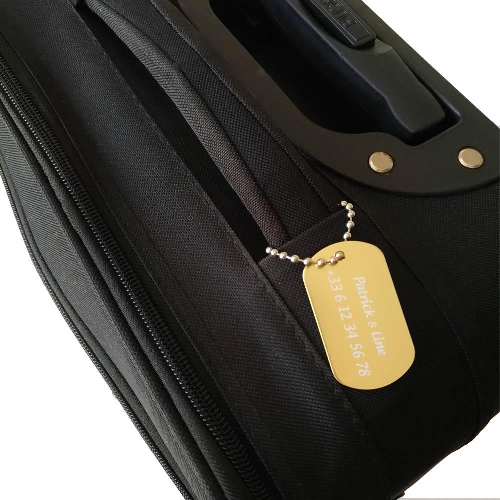 Etiquette de bagage personnalisée sur 1 à 3 lignes couleur Or en aluminium - Etiquette valise voyage personnalisable