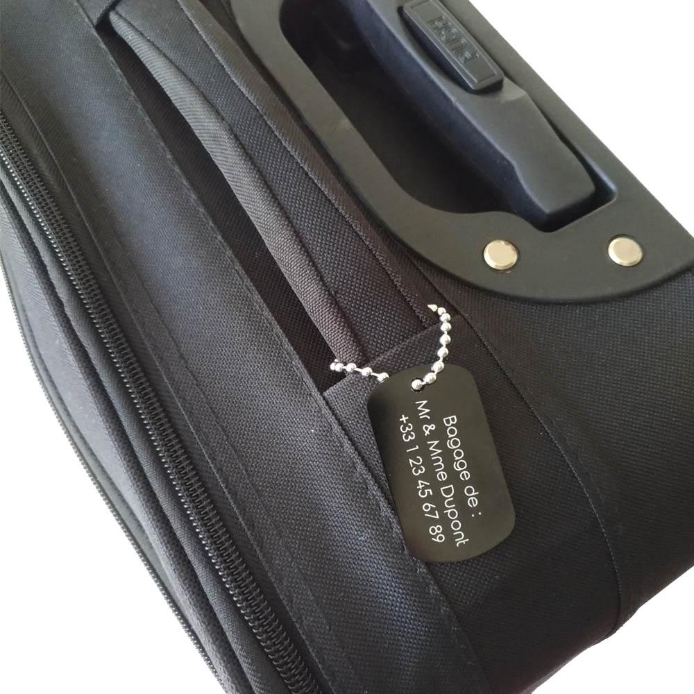 Etiquette de bagage personnalisée sur 1 à 3 lignes couleur Noire en aluminium - Etiquette valise voyage personnalisable