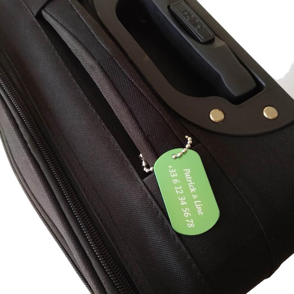Etiquette de bagage personnalisée sur 1 à 3 lignes couleur Verte en aluminium - Etiquette valise voyage personnalisable