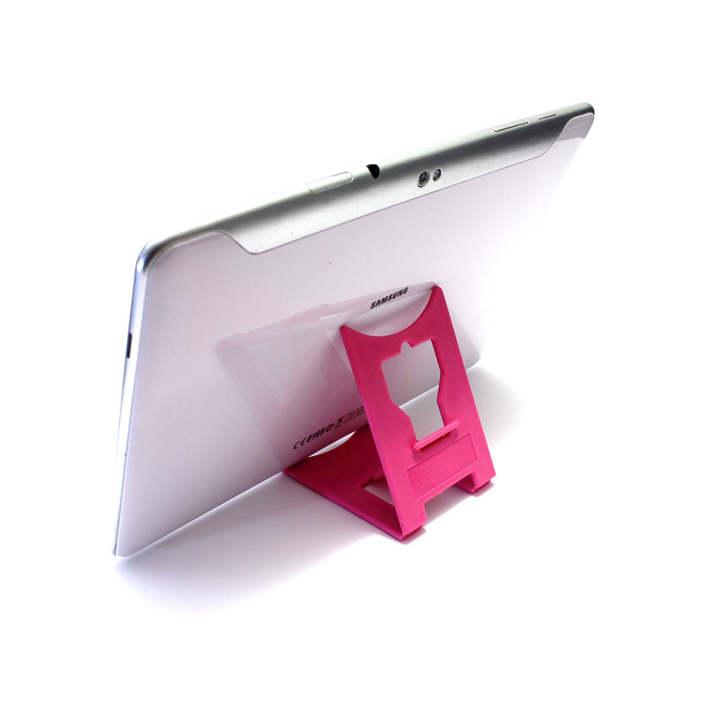 "Support de bureau pliable pour tablette max 10"" - Couleur rose - Support tablette modèle LARGE"