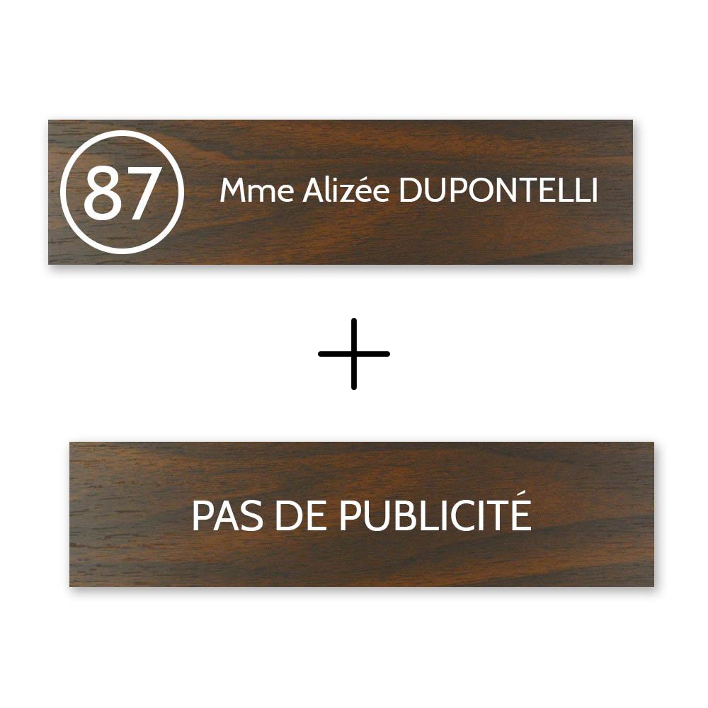 Plaque nom avec numéro + Plaque Stop Pub boite aux lettres format Decayeux (100x25mm) effet bois foncé  1 ligne