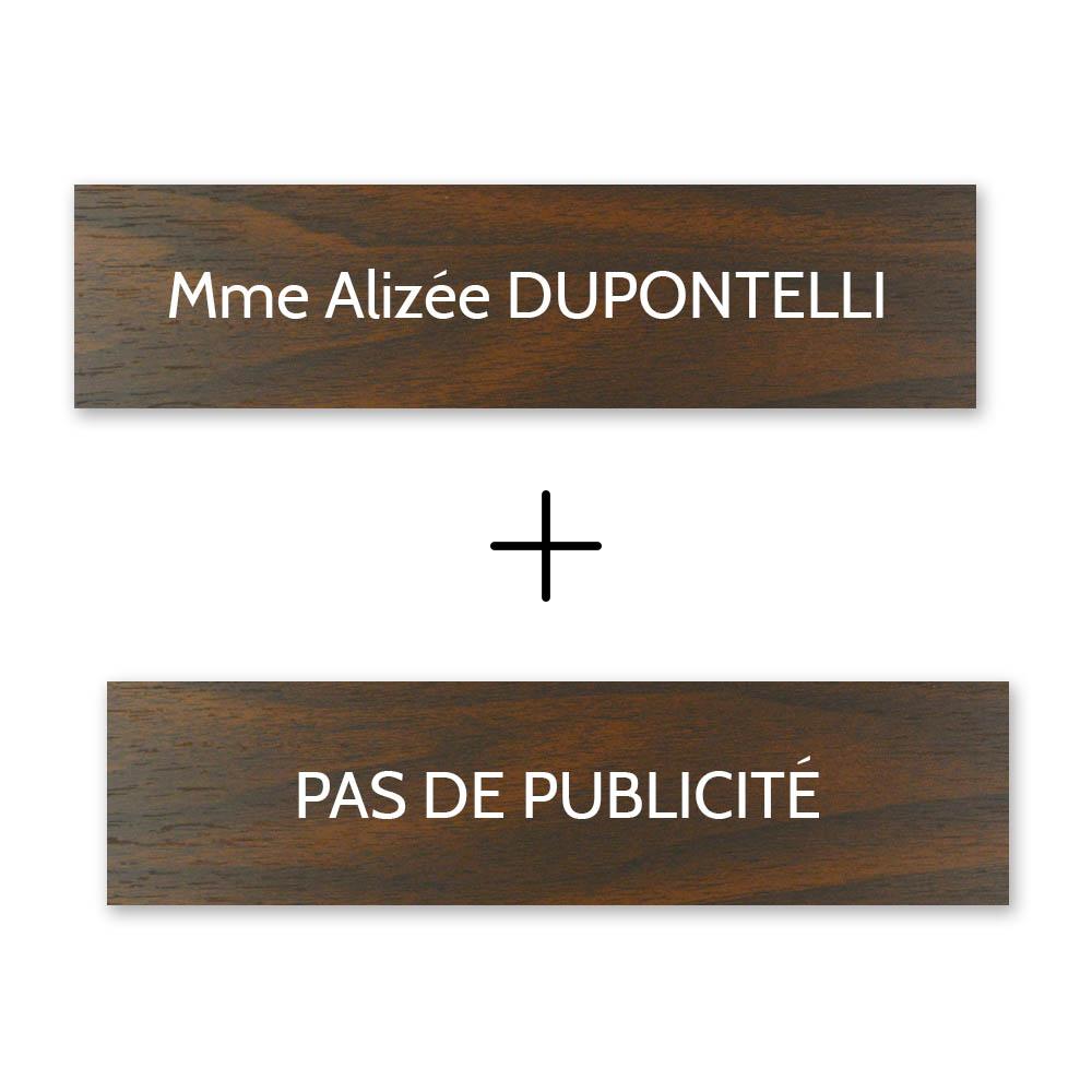 Plaque nom + Plaque Stop Pub pour boite aux lettres format Decayeux (100x25mm) effet bois foncé lettres blanches - 1 ligne