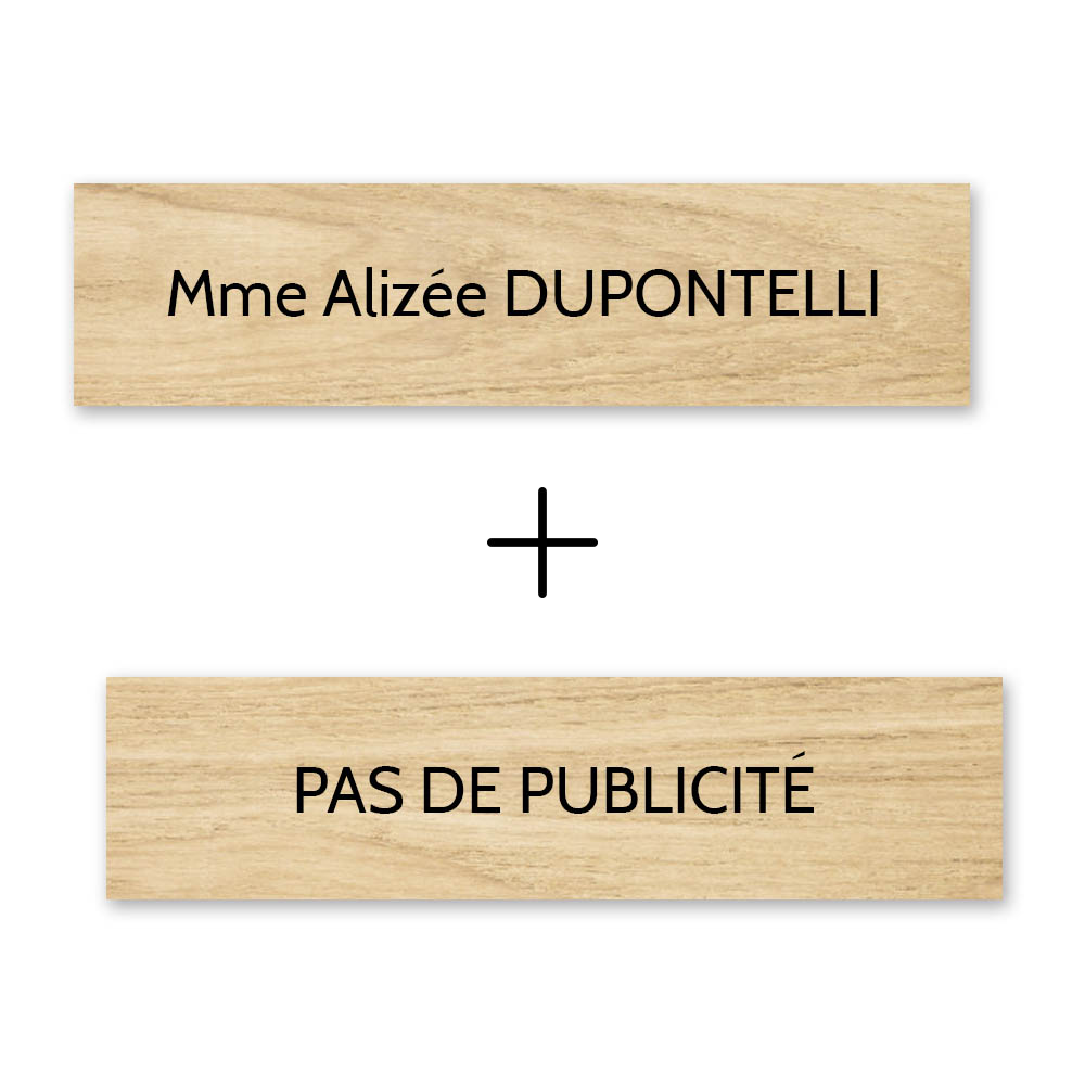 Plaque nom + Plaque Stop Pub pour boite aux lettres format Decayeux (100x25mm) effet bois clair lettres noires - 1 ligne