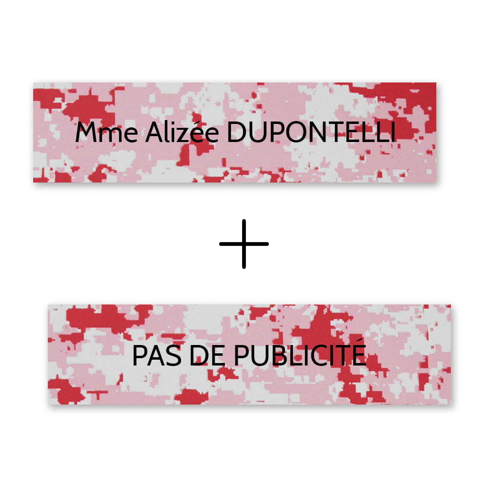 Plaque nom + Plaque Stop Pub pour boite aux lettres format Decayeux (100x25mm) Camo Rose lettres noires - 1 ligne