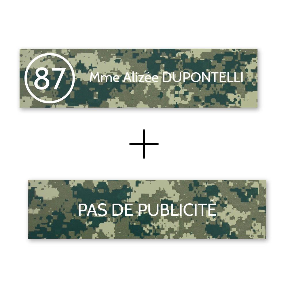 Plaque nom avec numéro + Plaque Stop Pub boite aux lettres format Decayeux (100x25mm) Camo Vert lettres blanches 1 ligne