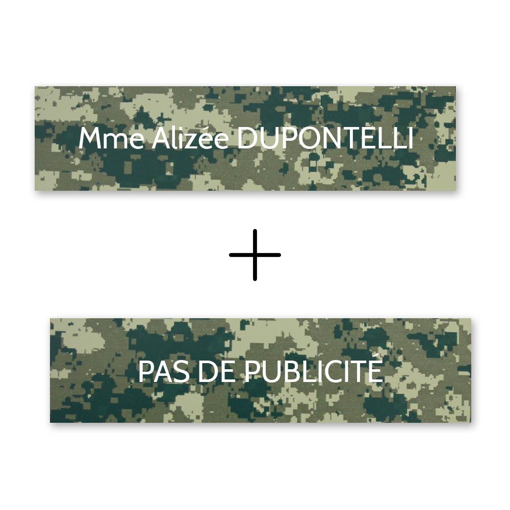 Plaque nom + Plaque Stop Pub pour boite aux lettres format Decayeux (100x25mm) Camo Vert lettres blanches - 1 ligne