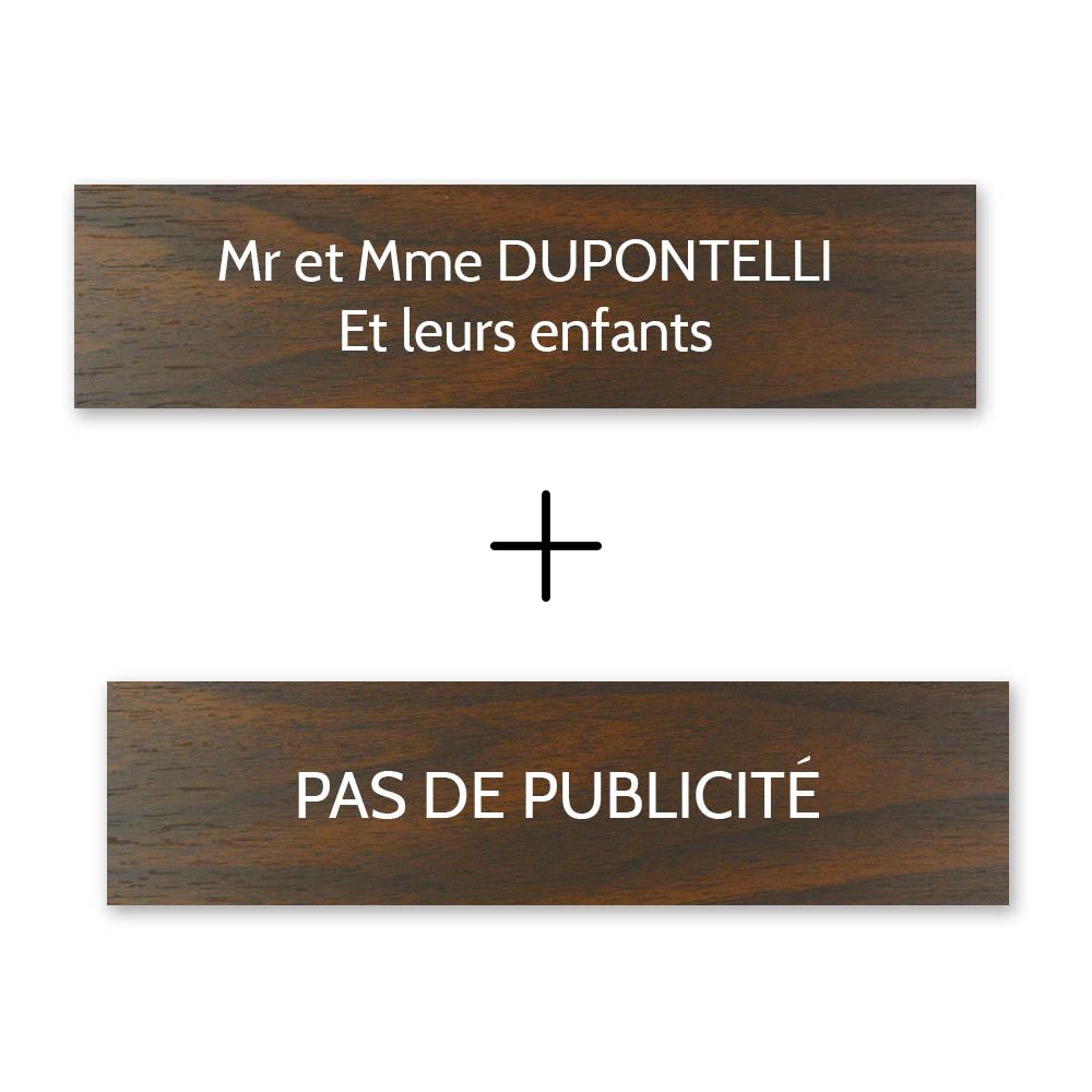 Plaque nom + Plaque Stop Pub pour boite aux lettres format Decayeux (100x25mm) effet bois foncé lettres blanches - 2 lignes